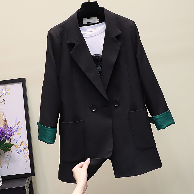Korean Stylish Ladies Blazer Casual Loose Solid Black Suit Jacket Vintage  Blazer Cuadros Mujer Women Blazer Formal New MM60NXZ