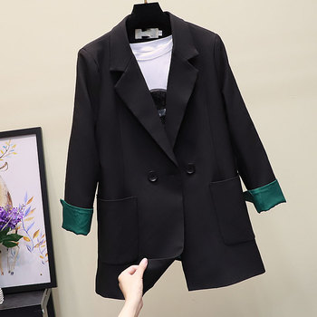 цена Korean Stylish Ladies Blazer Casual Loose Solid Black Suit Jacket Vintage  Blazer Cuadros Mujer Women Blazer Formal New MM60NXZ онлайн в 2017 году