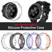 TPU Watch Protective Case Transparent Soft Plastic Watch Screen Protector Anti-Drop Smart Bracelet Shell Cover For Garmin Swim 2