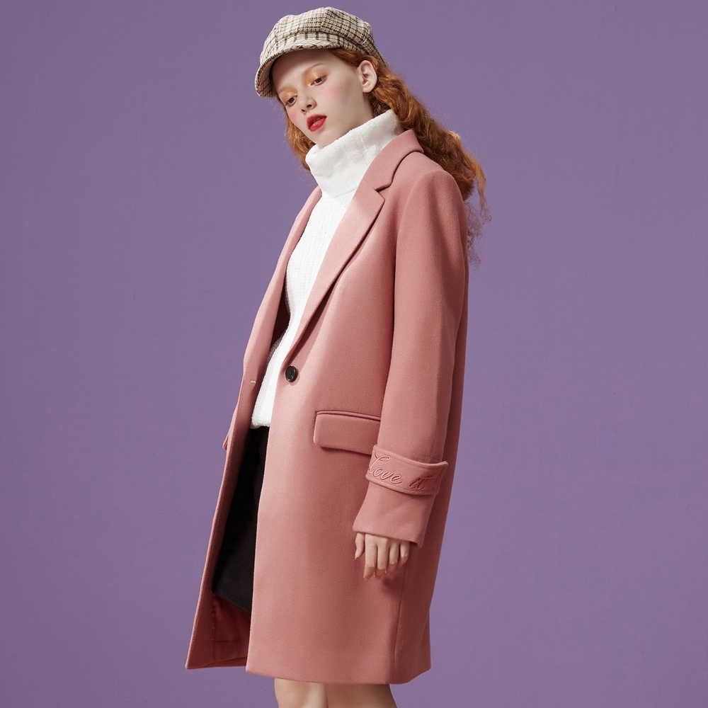 Metersbonwe新女性ウールコート上着冬服オフィス女性のコートのファッション暖かいスリムでエレガントなカジュアル新鮮なコート