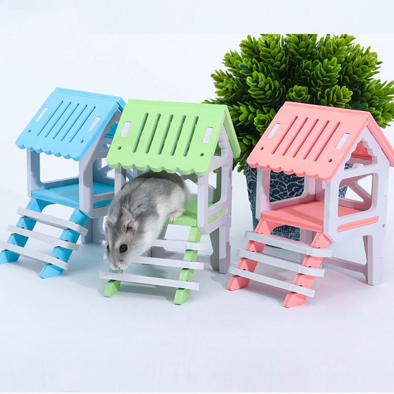 1PC Cute Hamster Wooden House Mini Animal Hedgehog Golden Bear With Ladder Bedroom Watchtower Small Pet Nest Cage Castle Toy