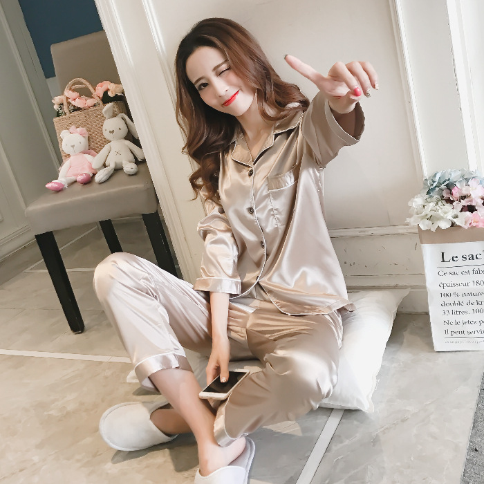 Spring Pajamas Women's Silk Korean-style Casual Loose-Fit Solid Color Viscose Cardigan Imitated Silk Fabric Home Wear