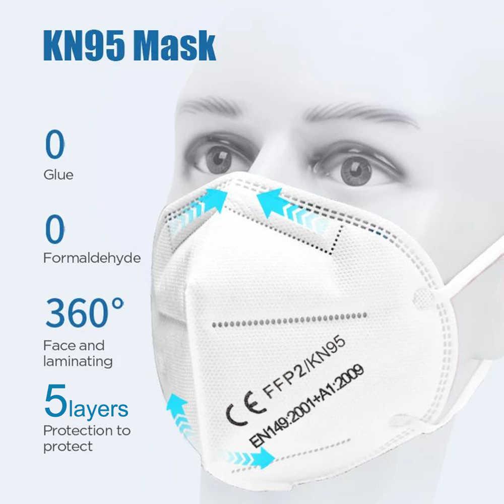 FFP2 KN95 CE mascarilla Фильтрационные маски для рта дышащие маски пыленепроницаемый для лица безопасные нетканые респираторы для ушей