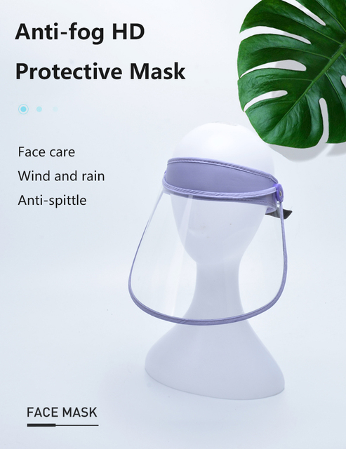 New Protective Cap Anti-droplet Saliva Hair Ring Face Shield HD Transparent Head-mounted Mask Empty Top Hat