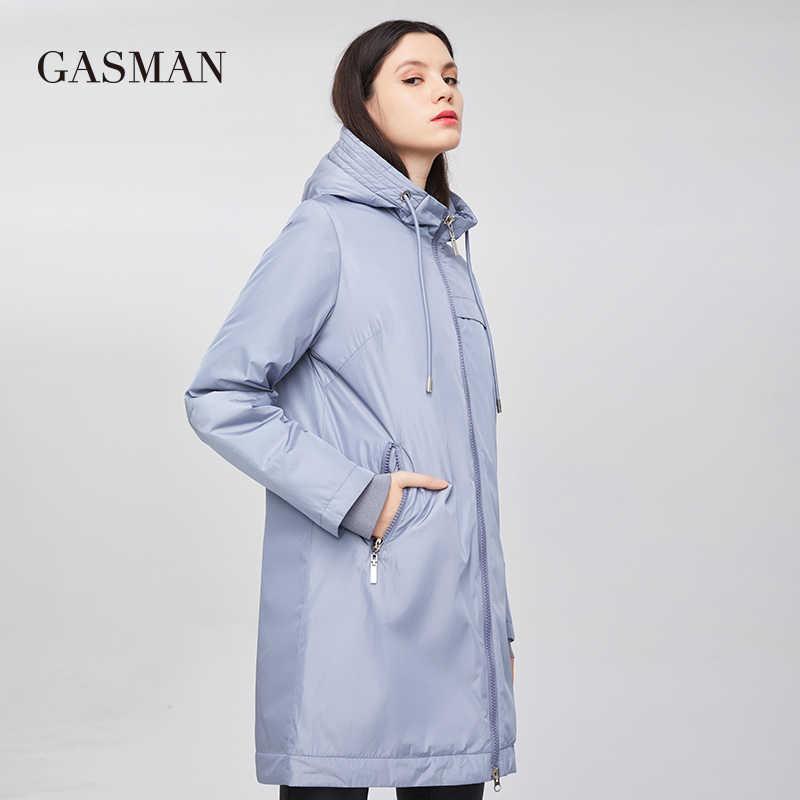 Gasmanファッション防風暖かい女性のジャケットロングジッパーダウンパーカーフード付きダウンジャケット女性の秋の綿のコート女性