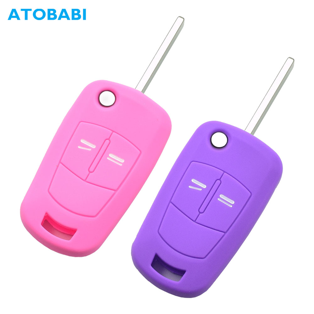 Silicone Flip Car Key Case For Vauxhall Opel Corsa Astra Vectra Signum 2 Buttons Folding Keychain Remote Fob Protection Cover