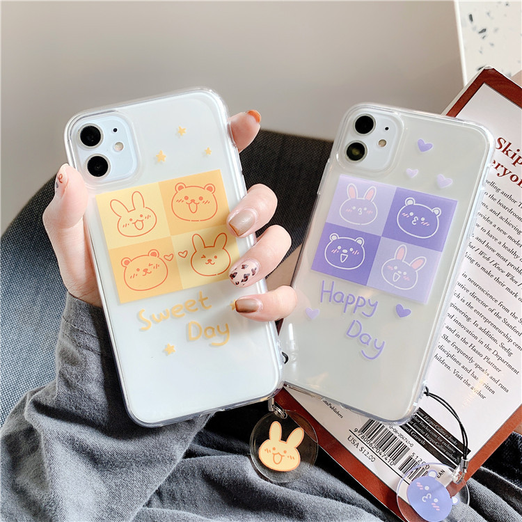 Cute bear Bunny animal letters Couple Phone case for iPhone 11 Pro MAX X XR XS case silicon for coque iPhone 7 Plus 8 Plus Case