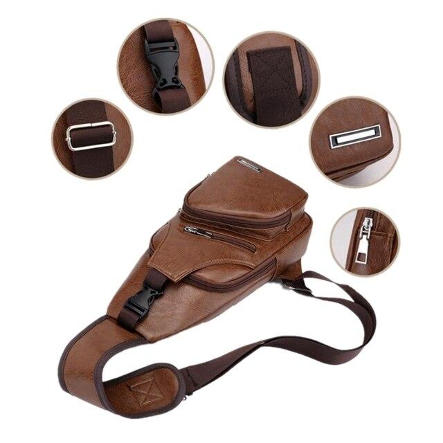Male Shoulder Bag USB Charging Crossbody Chest Bag For Men Anti Theft Chest Waist Pack Trip Messenger Bags Single Strap Back Bag