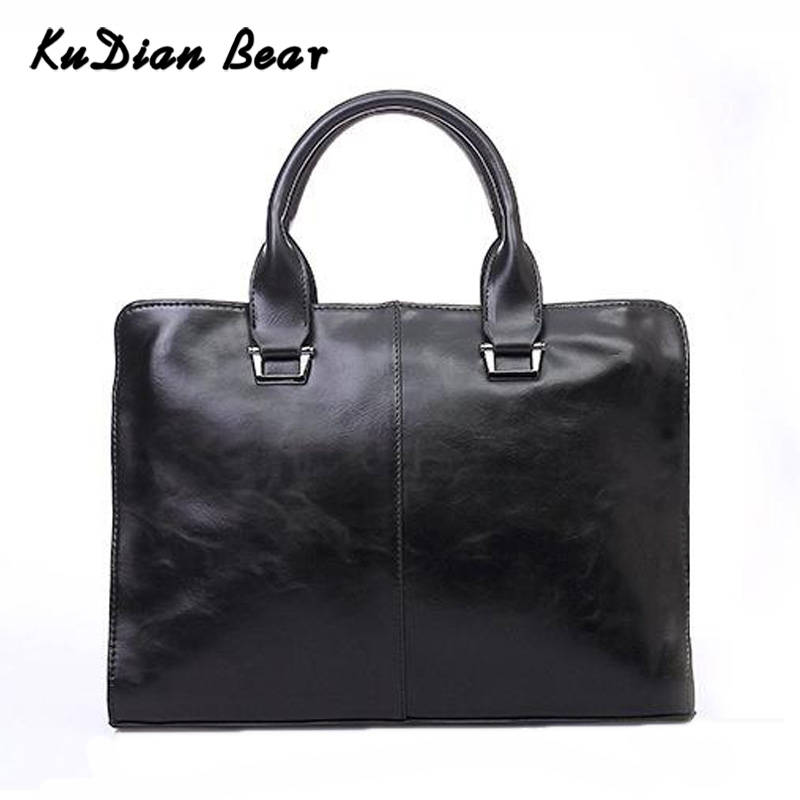 KUDIAN BEAR Business Men Briefcase Laptop Bags PU Leather Office Handbag Retro Men's Shoulder Bag Bandolera Hombre BIX306 PM49