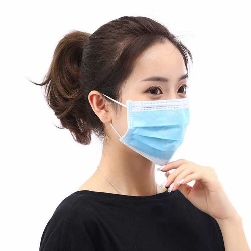 50pcs Blue White Mouth Face Mask Disposable Non-Woven Three-layer Filter Unisex Anti-dust Mouth Nose Prevent Bacteria Proof Mask