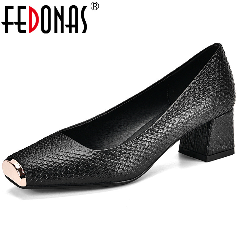 FEDONAS Concise Genuine Leather Pumps Women Spring Summer Four Seasson Casual Office Shoes Woman Square Toe Shallow Pumps