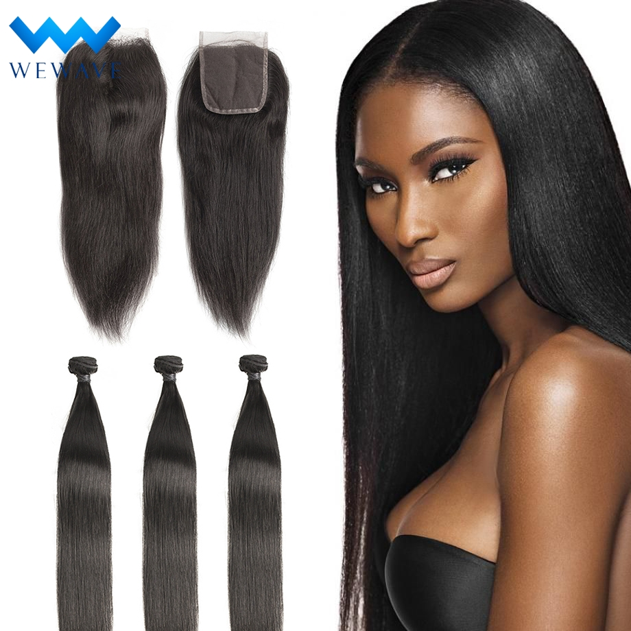 Straight brazilian hair weave bundles short long virgin natural human hair extensions color vendors 3 bundles with closure