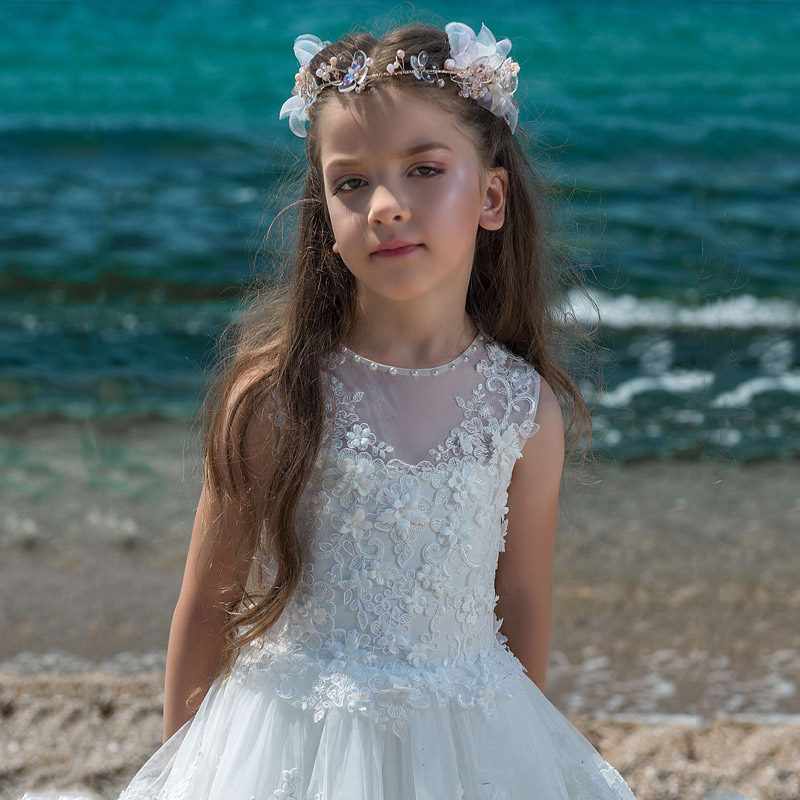 White 2019   Flower     Girl     Dresses   For Weddings A-line Tulle Appliques Lace Pearls Long First Communion   Dresses   Little   Girl
