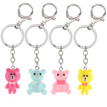2019 Fashionable Bow-tie Bear Key chain Accessories Acrylic key Ring Accessories Women Car Bag Accessories Keychains(China)