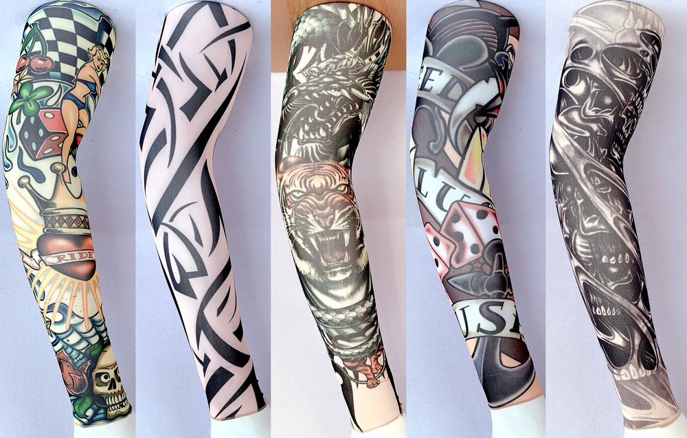 Tiger Head TATTOO SLEEVE (seamed), Geometric Pattern Removable Arm Warmers, Outdoor Sports Sleeve Length 47cm HT130-134