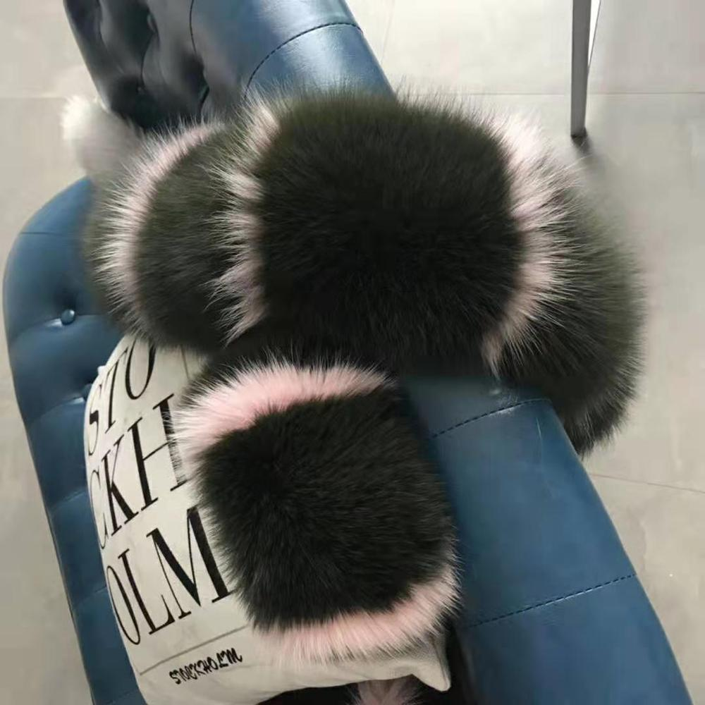 MS.Minshu Fox Fur Collar Parka Coat Collar Genuine Fox Fur Big Collar Fluffy Fox Fur Hood Collar - Цвет: 10