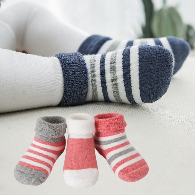 Winter Looped Pile Children's Socks Stripes Thick Warm BABY'S Socks Newborn Infant 0-3-Year-Old Tube Socks CHILDREN'S Socks