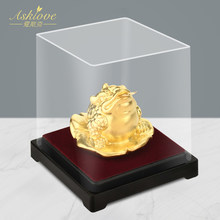 24 K Goud Folie Kikker Feng Shui Pad Chinese Gouden Kikker Geld Geluk Fortuin Rijkdom Kantoor Tafelblad Ornament Home Decor geluk Geschenken(China)