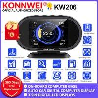 Konnwei-computador digital kw206 obd2, indicador de temperatura da água