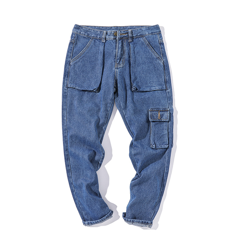Wholesale 2020 Multi Pocket Teenagers Cowboy Students Straight Tooling Cargo Jeans Homme Men Loose Bf Korean Ankle Length Pants