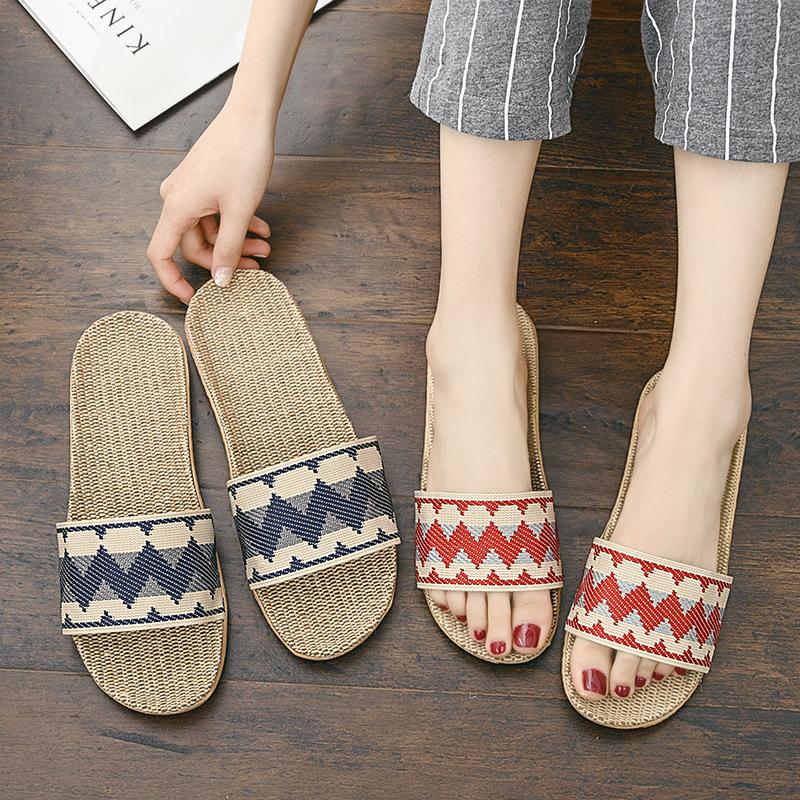 2020 New Women Flax Slippers Summer Indoor Shoes Wave Pattern Home Slipper Woman Man Open Toe Linen Belt Slides Female Sandals