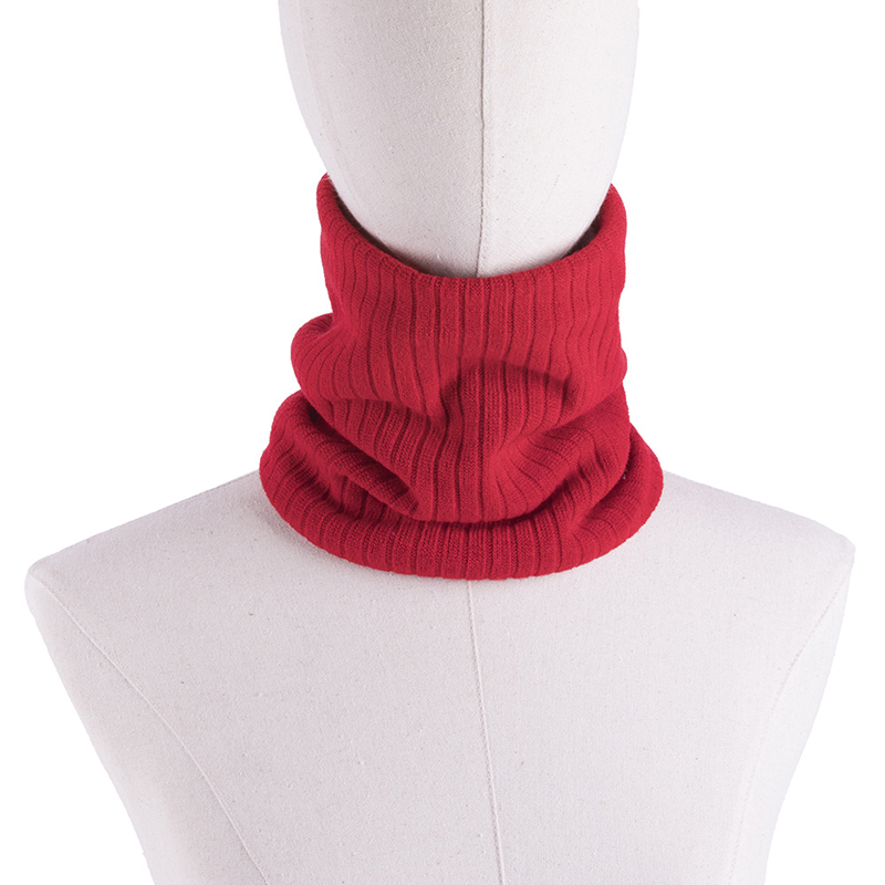 Winter Unisex Women Men Knitted Ring Scarves Casual Outdoor Solid Color Plus Velvet Snood Scarf Couple Female Warm Neck Warmer