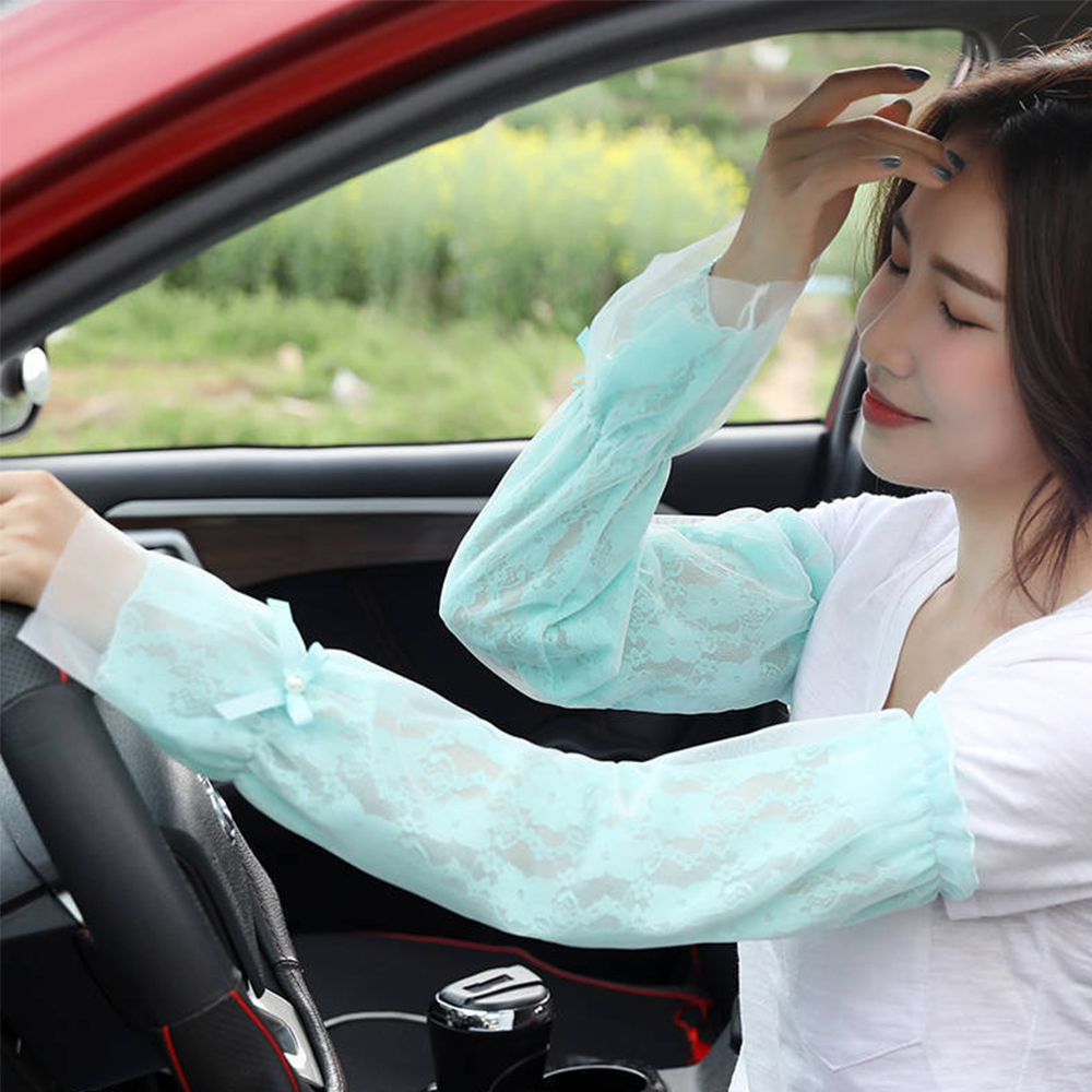 Long Gloves Summer Lace Sun Protection Oversleeve Anti-uv Shirt Sleeve Long Ice Silk Driving Women Summer Arm Sleeve