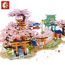 SEMBO Sakura Blocks Creator City Cherry Blossom Mini Street View Japanese Sakura House Tree Model Building Blocks Children Toys