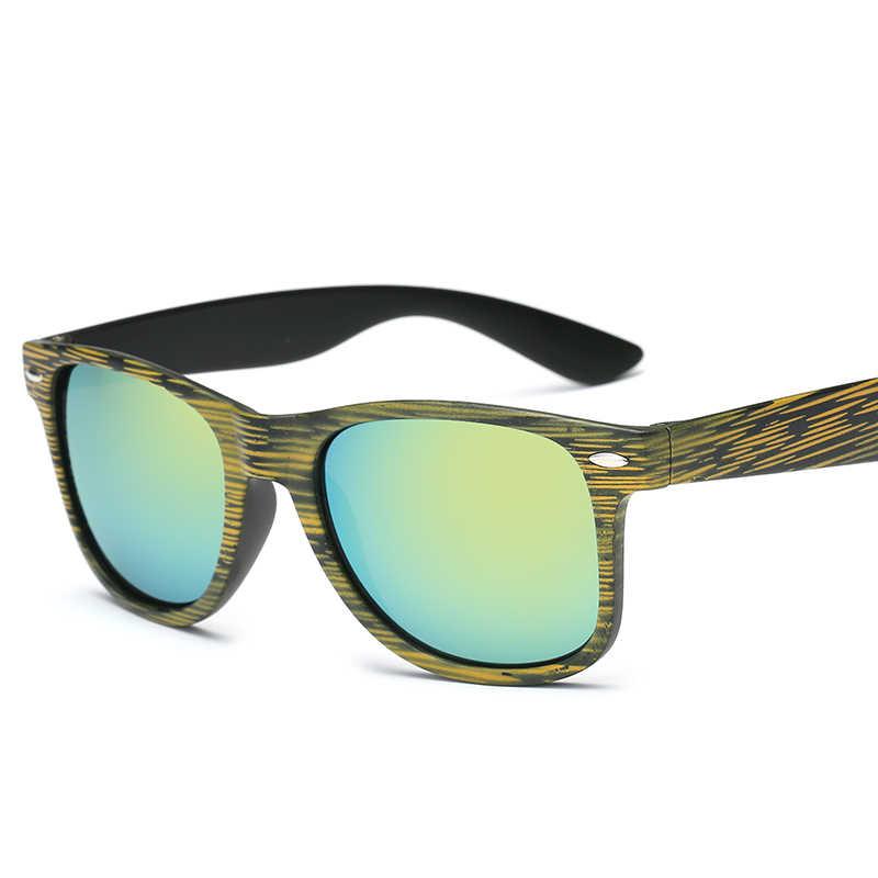 Unisexe carré forme bois Grain lunettes de soleil femmes mode à la mode lunettes de soleil couleur lentille multicolore luxe marque lunettes de soleil