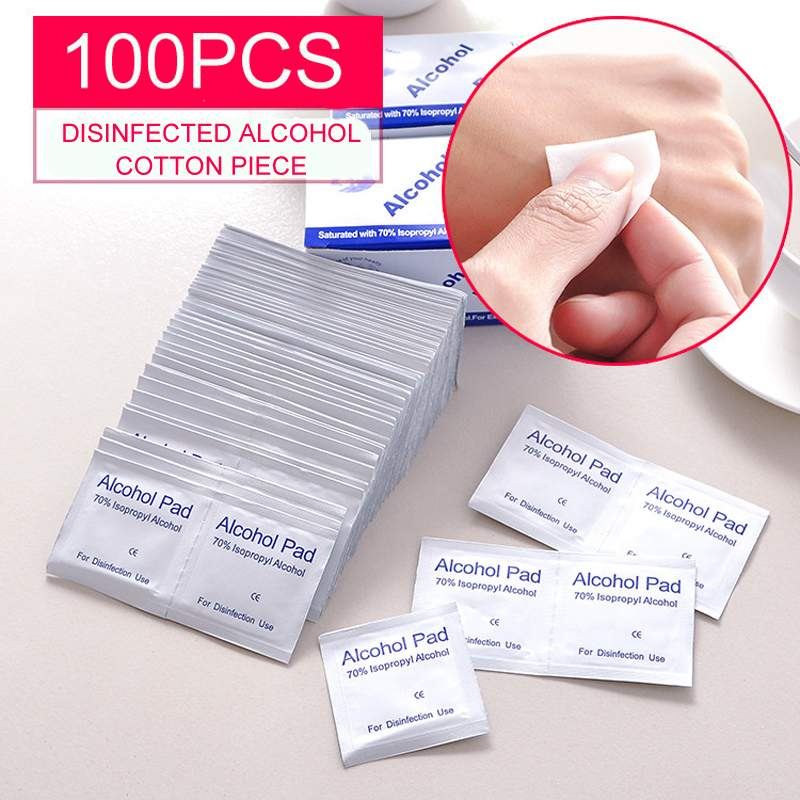 100pcs Disposable 70% Alcohol Cotton Tablets Wound Cleaning  Prevention Alcohol Disinfection Cotton Tablet Alcohol Prevention