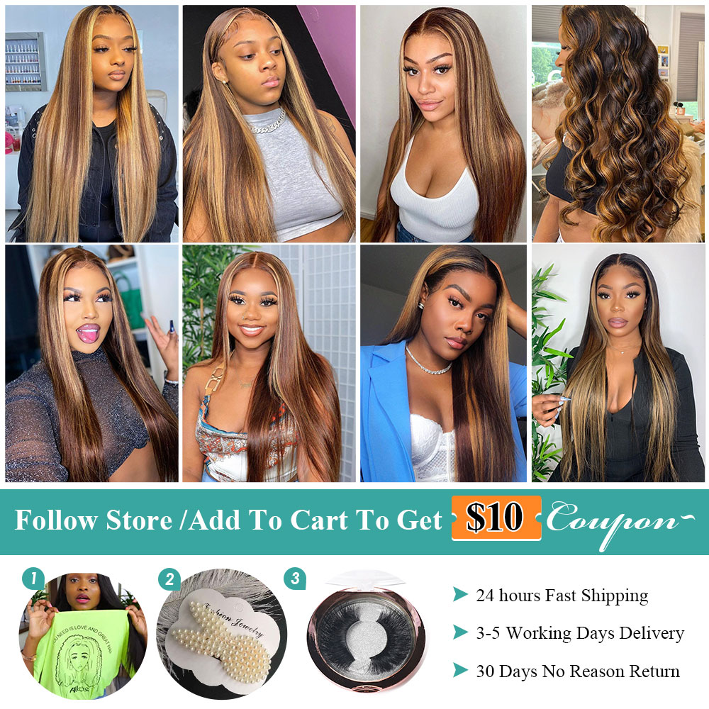 Allove Honey Blonde Lace Front Wigs Highlight Brown Lace Front  Wigs  Bone Straight  Wig Ombre Wig 6
