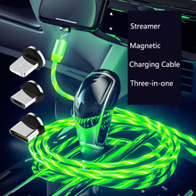 Car Magnetic LED Light Cable Fast Charging Phone Charger For Chevrolet Cruze Orlando Lacetti Lova Sail EPICA Malibu Volt Camaro(China)