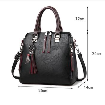 Luxury Vintage Ladies Leather Hand Bag Totes Tassel Crossbody Bag 4