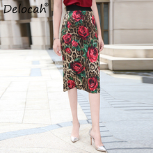 Delocah Elegant Summer Skirts Runway Fashion Womens Leopard Rose Printed High Waist Vintage Ladies Midi Skirt