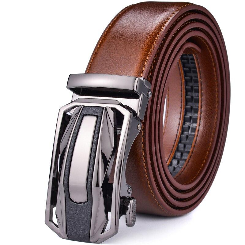 Men's Leather Ratchet Belt Dress With Slide Click Automatic Buckle Plus Size 28-58 Inch Mens Belts Luxury Ceinture