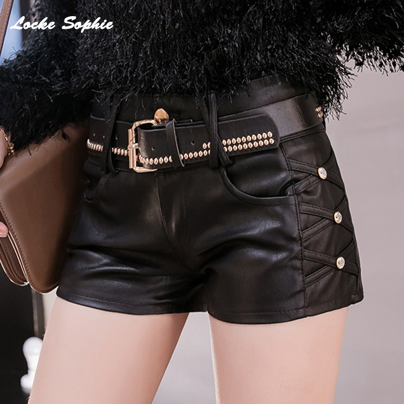 High Waist Women's Plus Size Leather Shorts 2019 Autumn PU Leather Faux Rivets Splicing Waist Belt Shorts Ladies Skinny Shorts