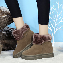 Tumed-over Edge Boots Women Platform New Warm Plush Winter Women Snow Boots Fashion Women Ankle Boots Women U11-33(China)