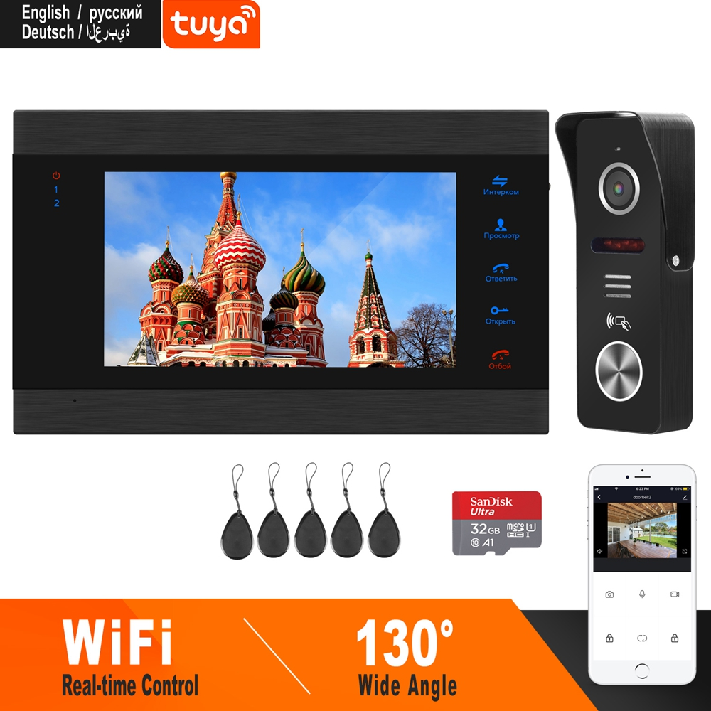 HomeFong Wi-fi Inteligente 7 Polegada Campainha Sem Fio Da Porta de Vídeo Porteiro Com Sensor De Movimento E Controle Em Tempo Real do Sistema de Controle de Acesso
