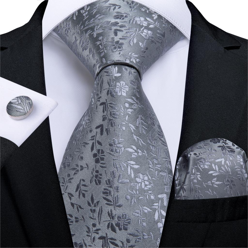 Gift Men Tie Gray Solid Floral Silk Wedding Tie For Men Hanky Cufflink Business Men Tie Set DiBanGu New Designer Party MJ-7268