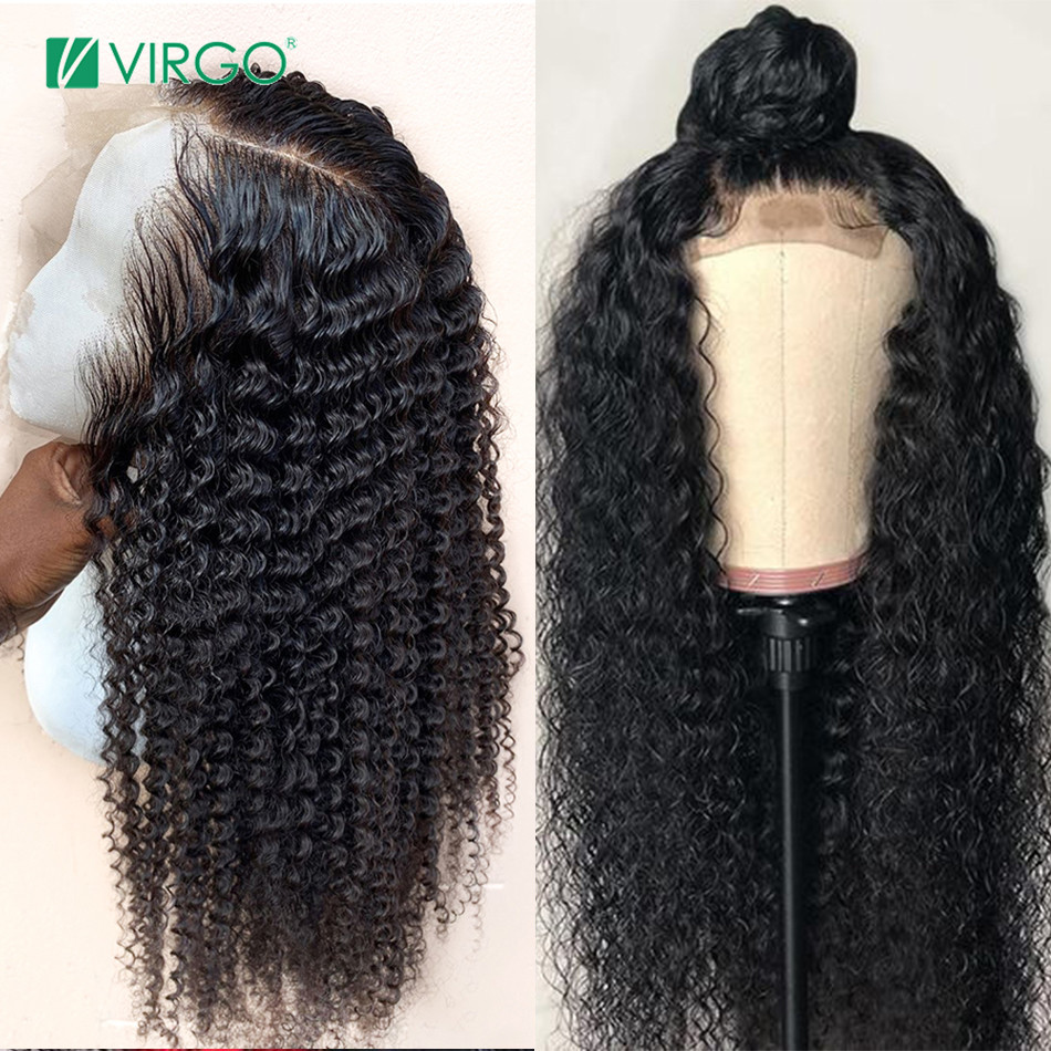 Virgo 4x4 Closure Wig Curly Human Hair Wig For Black Women  Brazilian Human Hair Wigs Remy Hair Lace Closure Wig