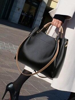 Luxury Vintage Large Capacity Bucket Bag Women Leather Big Handbags Female Shoulder Crossbody Bag Simple Ladies Luxury Tote Bag