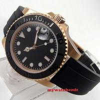 40mm Bliger black dial sapphire crystal date window rubber strap rose golden case automatic mens watch B261|Mechanical Watches|   -