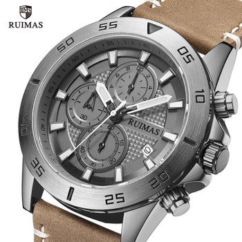 RUIMAS Gray Dial Quartz Watches Men Luxury Top Brand Chronograph Watch Man Leather Army Sports Wristwatch Relogios Masculino 572