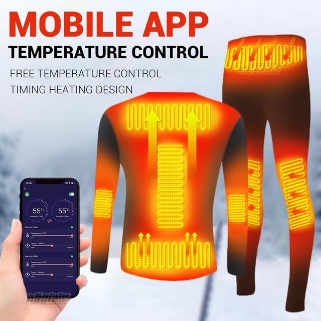 Winter Heated Underwear Suit Smart Phone APP Control Temperature USB Battery Powered  Fleece Thermal Motorcycle Jacket Moto Men