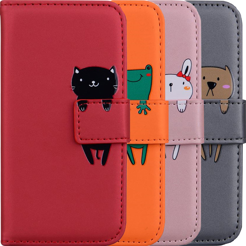 Cute <font><b>Flip</b></font> Wallet <font><b>Case</b></font> With Pet <font><b>For</b></font> <font><b>Huawei</b></font> <font><b>Y5</b></font> <font><b>2018</b></font> Y6 Y7 2019 P30 Honor 9 Lite 10 Lite P Smart Card Slot Leather Phone Bag V22G image