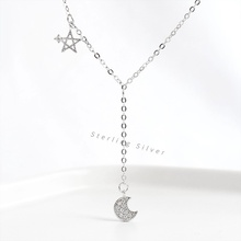 ZOBEI Real 925 Sterling Silver Personality Pendant Necklace Star and Moon Fine Jewelry For Women Party Cute Accessories