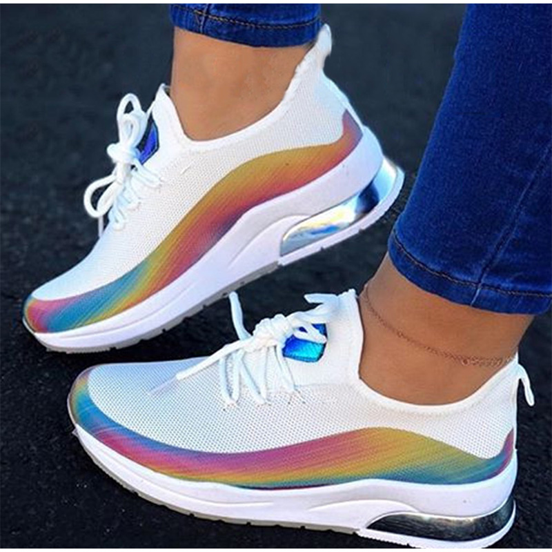 Women Colorful Cool Sneaker Ladies Lace Up Vulcanized Shoes Casual Female Flat Comfort Walking Shoes Woman 2020 Fashion