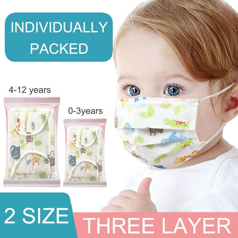 50 шт. детские, для малышей одноразовые маски 3 Слои ребенка маски для лица с фильтром защитный младенческой маска для лица для детей индивиду...