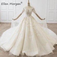 Luxury Crystals Lace Ball Gowns Wedding Dresses for Women Saudi Arabian Elegant Princess Half Sleeves Bridal Gowns 2020