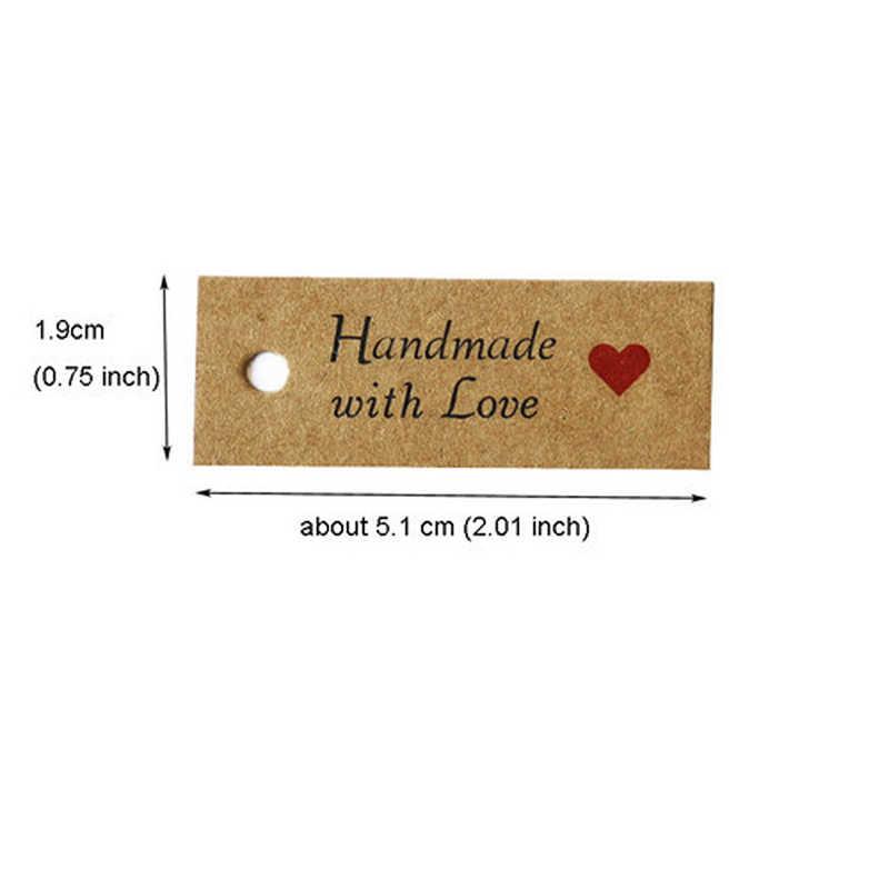 100pcs ขอบคุณกระดาษคราฟท์ของขวัญ Tags Handmade Merci Hang Tags DIY ป้ายราคาเสื้อผ้าของขวัญบรรจุป้ายการ์ด